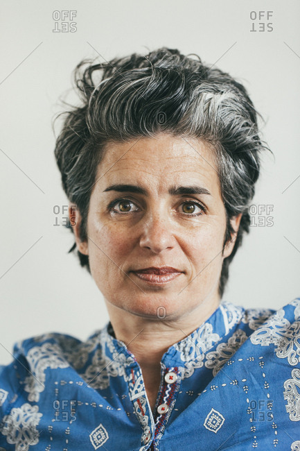 Portrait of woman with graying hair