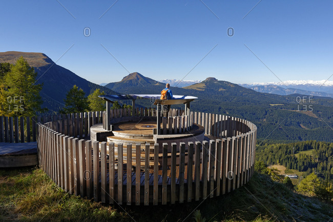 Italy- Alto Adige- Latemar- hiker at observation deck
