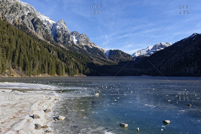Italy- Alto Adige- Antholz Valley- frozen lake