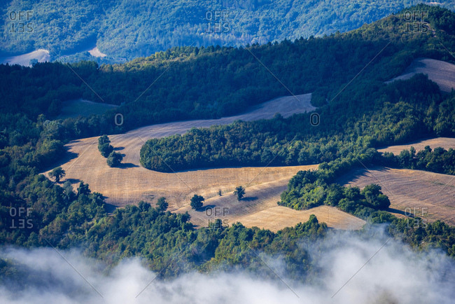 Italy- Marche- Gola di Furlo- view to forests and fields from above