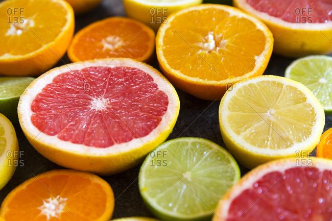 Sliced citrus fruits- close-up