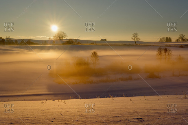Germany- Gebrazhofen- sunrise over hazy winter landscape