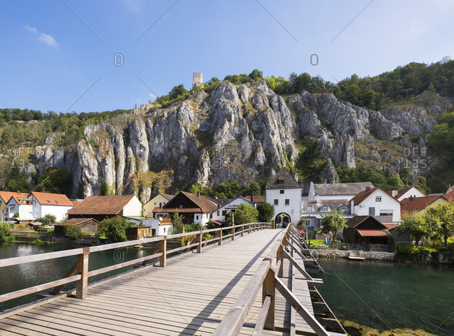 Germany- Bavaria- Essing- bridge over distributary of Altmuehl River with Brucktor and Castle Randeck