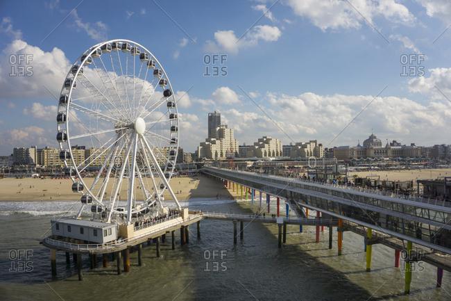 Netherlands- The Hague- Scheveningen- Ferris wheel- pier- beach and spa hotel