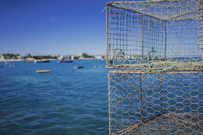 Fishing cages near the sea, Anguilla