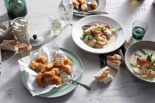 Blue eye cod and seafood chowder