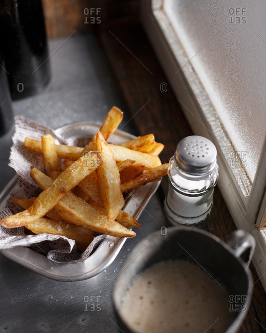 Hand cut chips and salt shaker