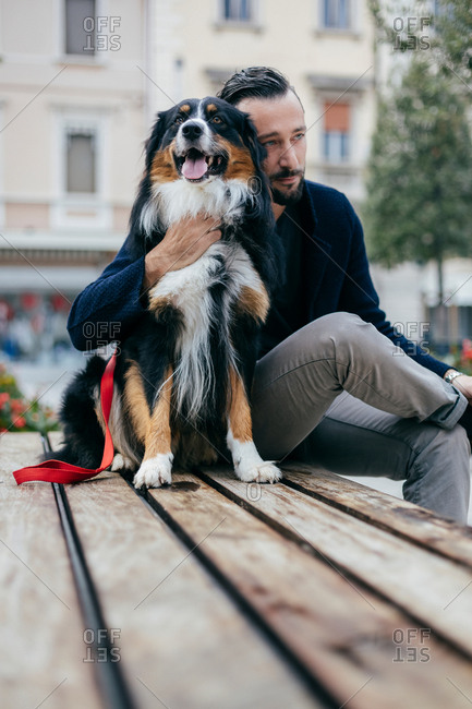 Mid adult man sitting with pet dog on city square bench