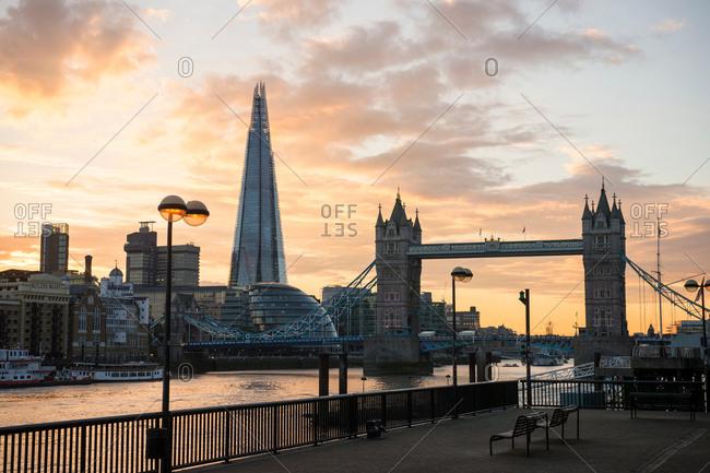 London, UK - October 10, 2016: Tower Bridge, The Shard and City Hall, Wapping, London, UK