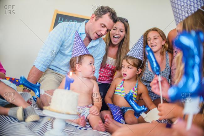 Family at birthday celebration