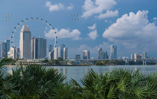 Singapore - October 20, 2016: Skyline of Singapore and Singapore Flyer