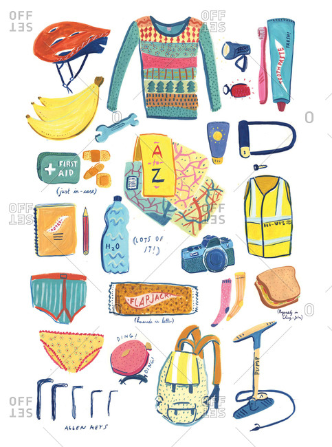 Arrangement of supplies for a cycling excursion
