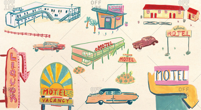Collage of retro motels, signs and cars