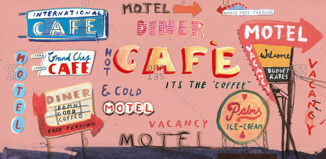 Collage of retro road-trip signs for cafes and motels