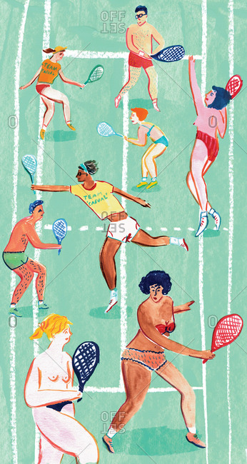 People playing tennis in various states of dress