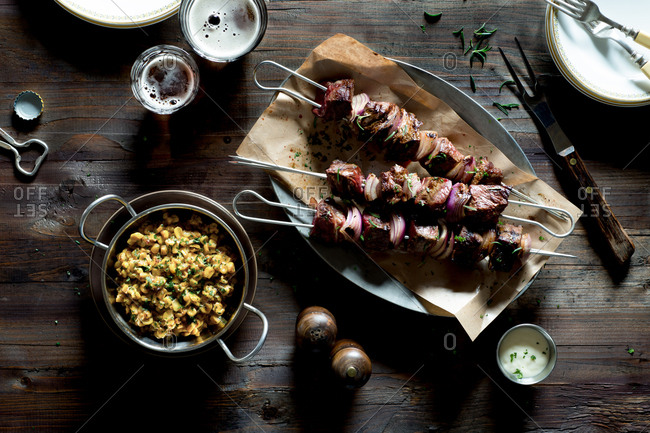 Grilled Rosemary Beef Kebabs with Corn Salad
