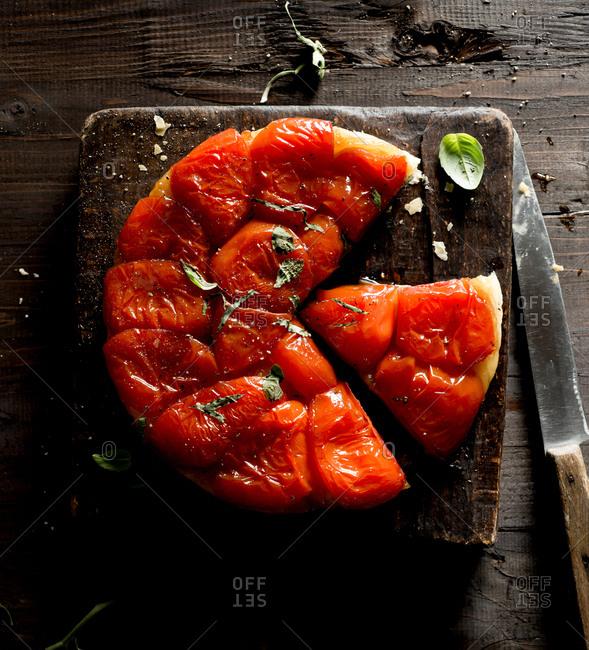 Tomato Tarte Tatin with Basil