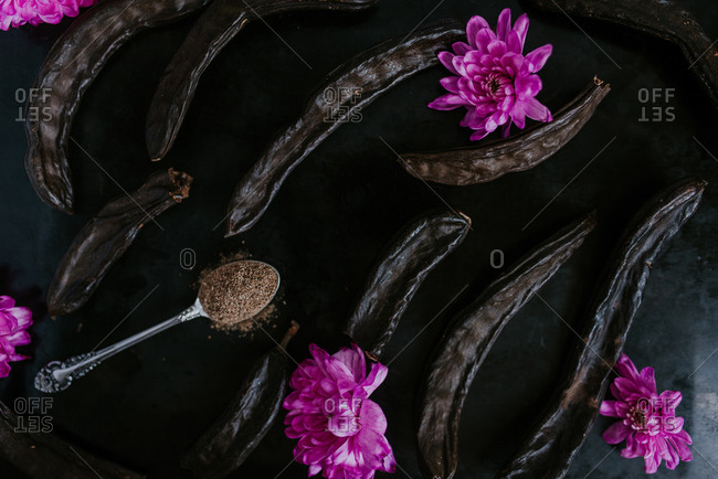 Dried carob pods and a spoonful of carob powder arranged with purple flowers