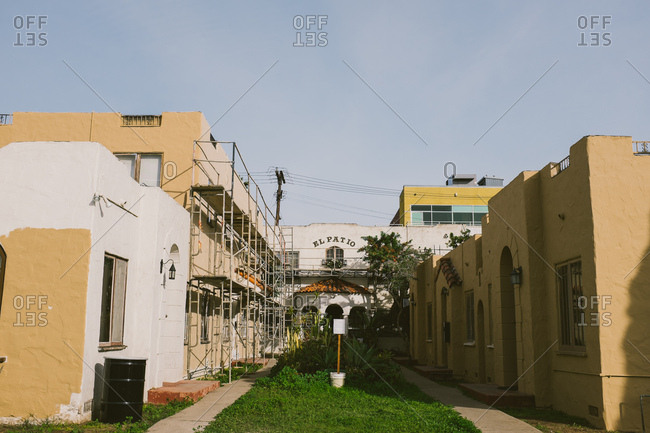 Courtyard of a Spanish apartment complex in San Diego