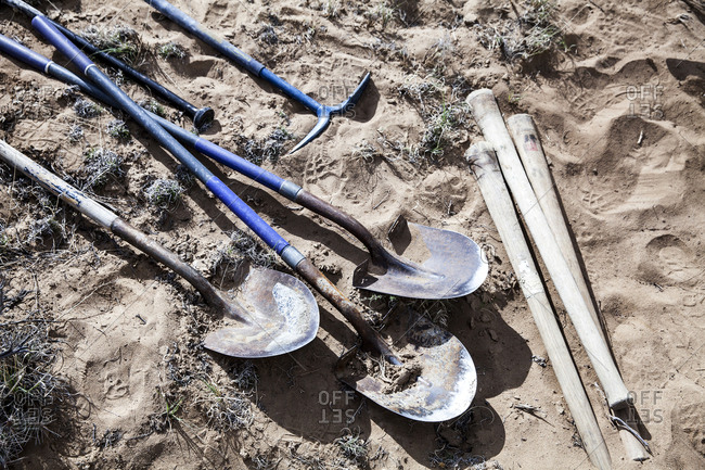 Digging tools on desert ground