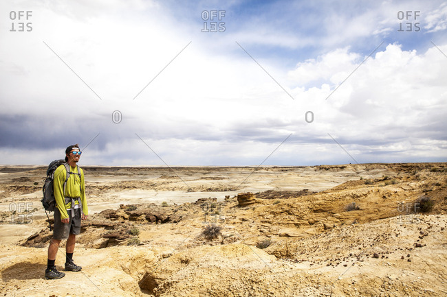 New Mexico - May 16, 2016: Man in a vast desert setting