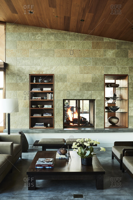 Jackson, Wyoming - September 30, 2016: Living room with floor to ceiling fireplace