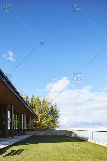 Jackson, Wyoming - October 1, 2016: Modern home overlooking mountains