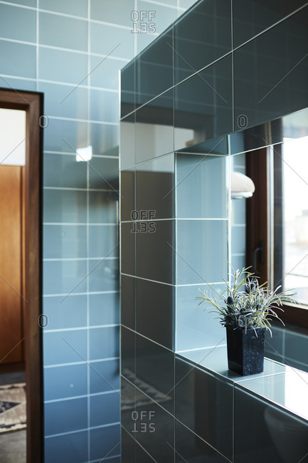 Room with blue tiles in a modern home