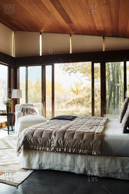 Jackson, Wyoming - October 1, 2016: Master bedroom interior