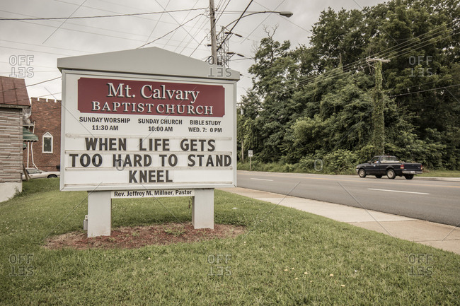 Danville, Virginia - July 8, 2015: Sign for Mt. Calvary Baptist Church with inspirational message