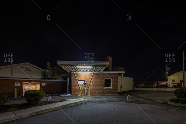 Front Royal, Virginia - July 6, 2015: Bank drive thru illuminated at night