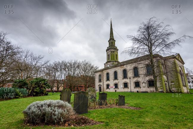 Birmingham, England - February 20, 2017: St. Paul's church and cemetery