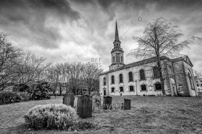 Birmingham, England - February 20, 2017: St. Paul's church and graveyard