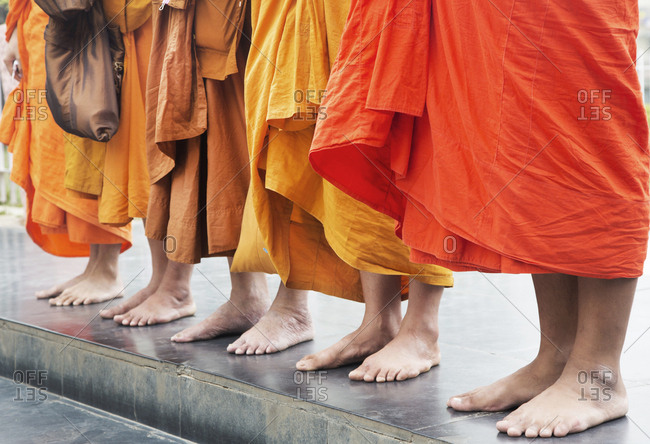 Feet of Buddhist monks in India