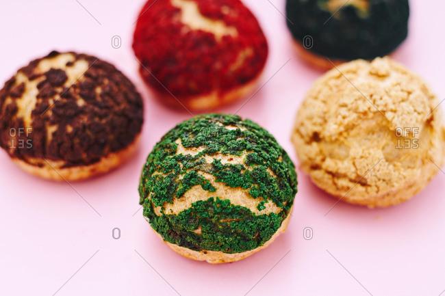 Colored dessert rolls in close up