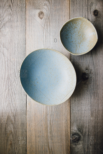 Blue dishes on a wooden table