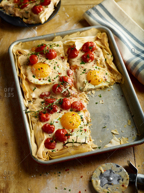 Egg and tomatoes on filo dough