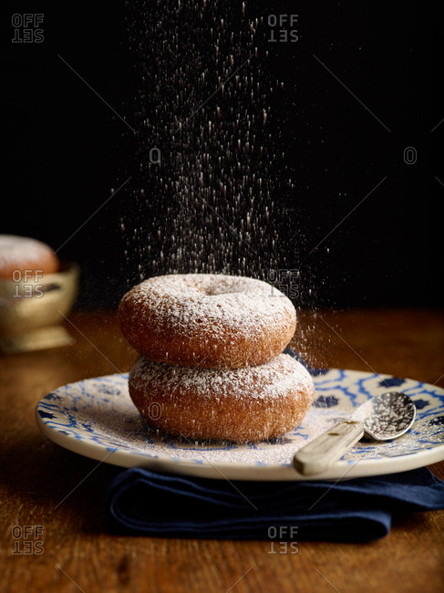 Sugared dusting on two donuts