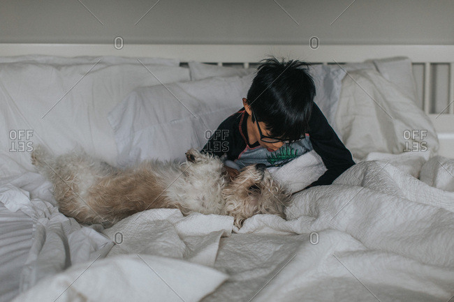 Boy sitting with dog in bed