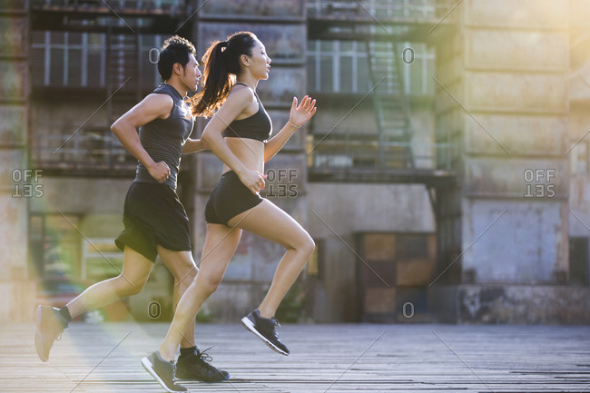 Young joggers running outdoors