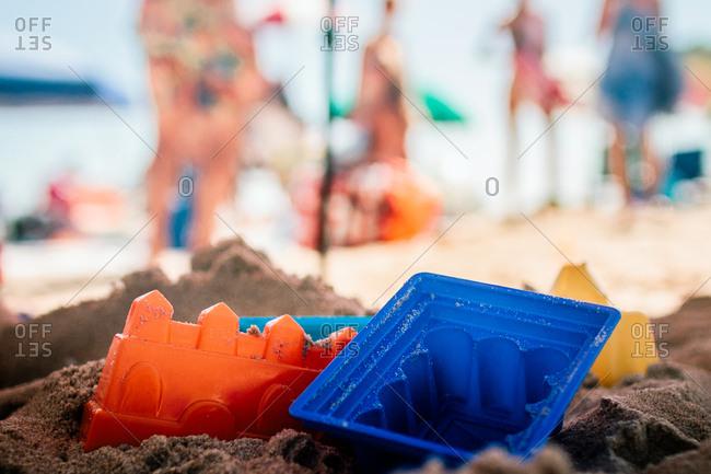 Castle sand toys on a beach