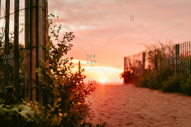 Sun rising over fences and dune grass on a beach
