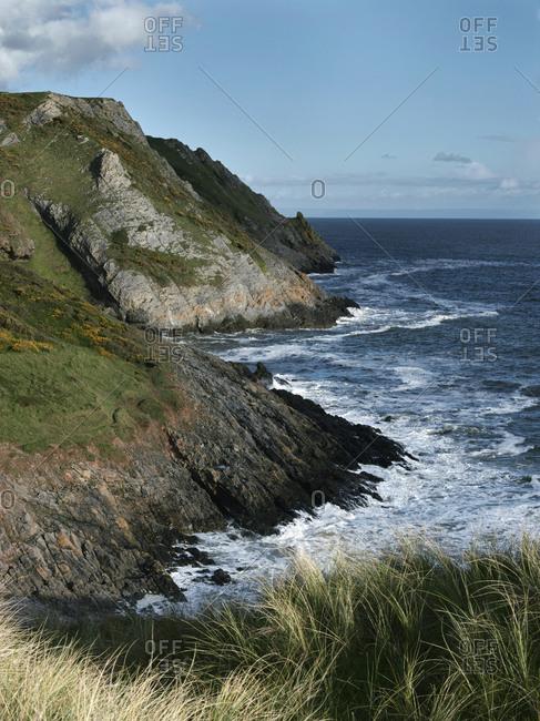 Coastal view at Three Cliffs Bay in Swansea, Wales