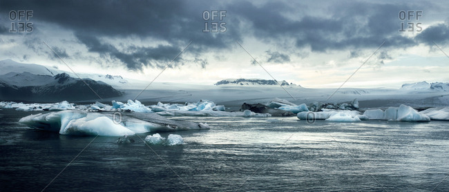 Panoramic view of glaciers and mountains in Iceland
