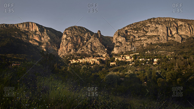 View of Moustiers-Sainte-Marie in Provence, France