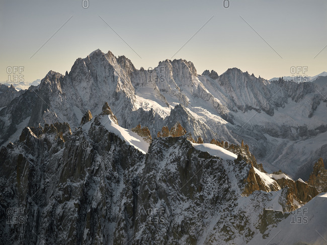 Snowy ridges in the French Alps, Chamonix
