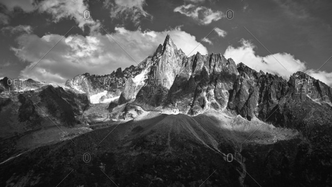 Triangular peak in the French Alps, Chamonix