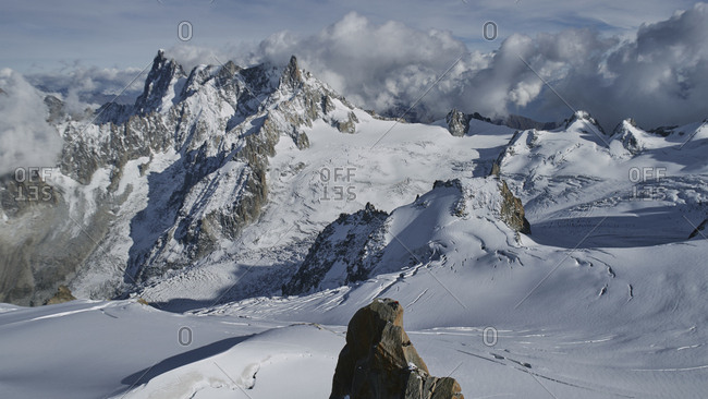 View across the mountains and glaciers in Chamonix, France