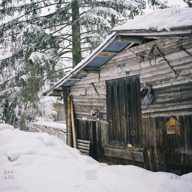 Chamonix, France - March 6, 2014: Rustic cabin in mountain wilderness