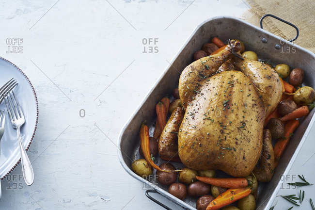 Oven roasted turkey with vegetables